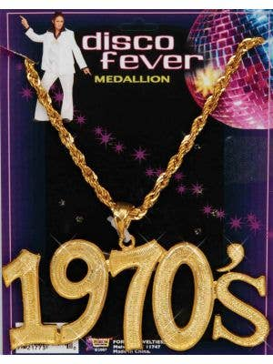 1970's Disco Fever Gold Necklace Costume Accessory