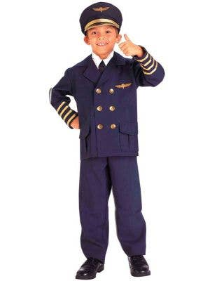 Toddler Plane Captain Navy Blue Costume Front View