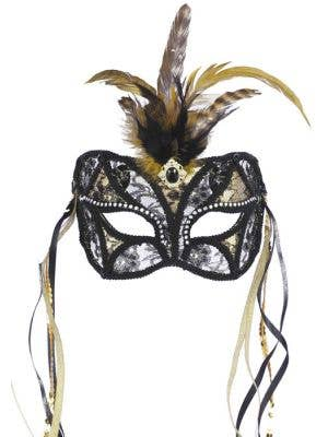 Feathered Black & Gold Lace Masquerade Mask