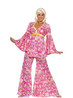 Women's Pink Hippie Costume Pants and Top Main Image