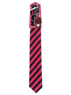 Men's Pink And Black 1920's Gangster Tie Costume Accessory