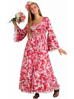 Women's Long Pink Hippie Dress Main Image