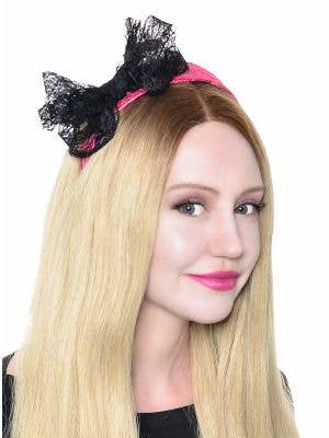 80's Neon Lace Headband with Bow - Pink