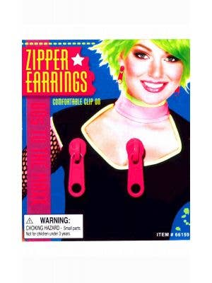 80's Clip On Zipper Earrings - Fuchsia Pink