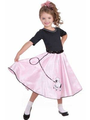 Pink and Black Girl's Retro Poodle Skirt Costume Front View