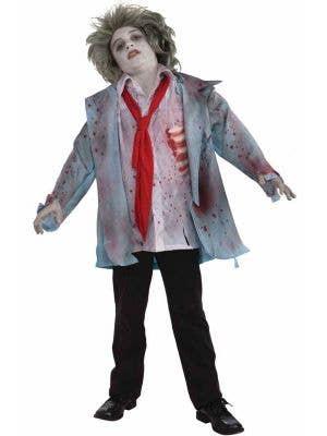 Zombie Boy's Scary Halloween Fancy Dress Costume Front View