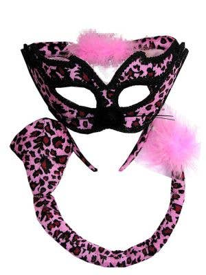 Masquerade Pink Leopard Cat Accessory Set