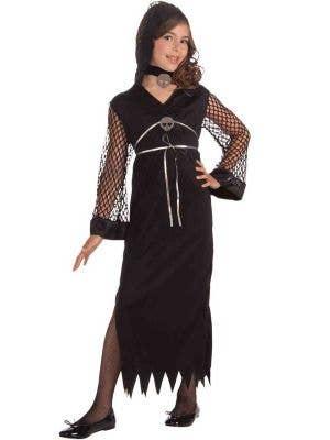 Girl's Evil Sorceress Black Fancy Dress Costume Front View