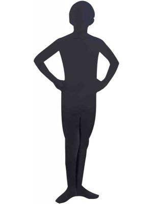 Kid's Black Lycra Skin Suit Halloween Costume Front View