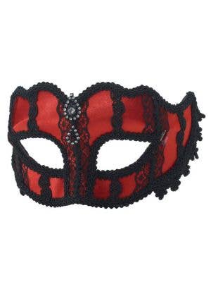 Jeweled Lace Masquerade Mask - Black & Red