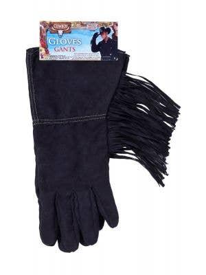 Cowboy Fringed Black Costume Gloves