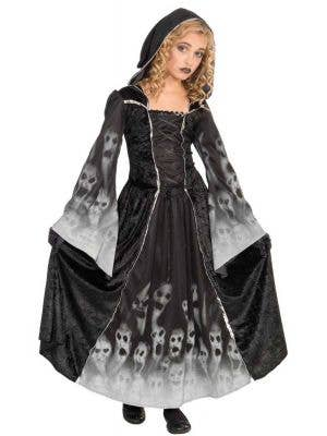Girl's Ghost Grim Reaper Fancy Dress Costume Front View