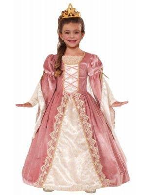 Rose Pink Girl's Princess Fancy Dress Medieval Costume Front