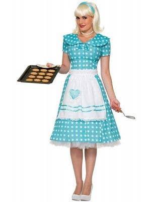 445c18c35403 Retro 50 s Women s Blue Housewife Costume Dress ...