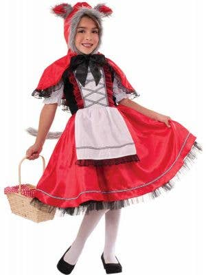 Girl's Red Riding Hood Wolf Costume Front View