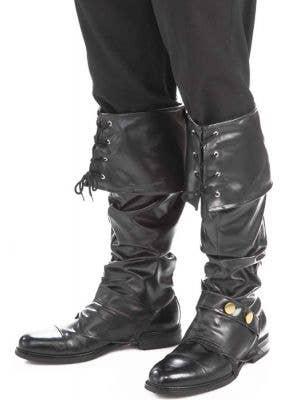 Men's Pirate Boot Covers in Black Vinyl