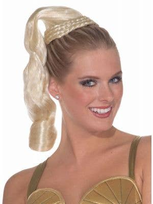 Silky Blonde Ponytail Goddess Hairpiece Costume Accessory
