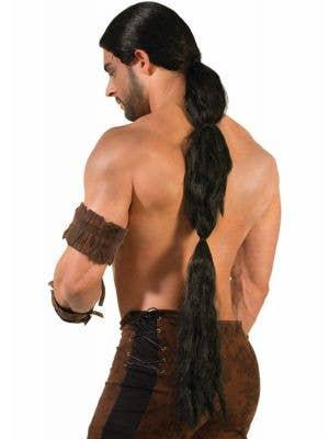 Long Black Men's Medieval Warrior Costume Wig