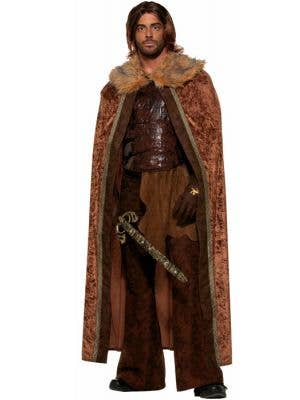 Men's Long Brown Game of Thrones Medieval Costume Cape Front