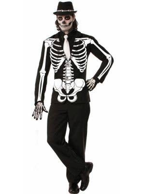 Men's Day of The Dead Skeleton Print Costume Jacket Front
