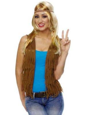 Fringed Brown Hippie Costume Vest Front View