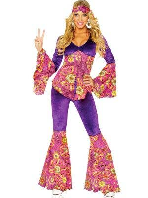 Flower Power Hippie Women's 1960's Costume Front View