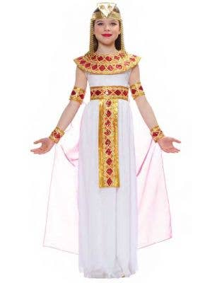 Girls Deluxe Egyptian Cleopatra Fancy Dress Costume Front View