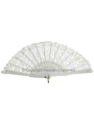 White Lace Adults Burlesque Costume Fan