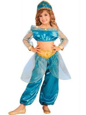 Arabian Princess Girl's Blue Costume Front View