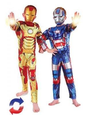 Iron Man and Iron Patriot Reversible Boys Marvel Superhero Costume Main Image