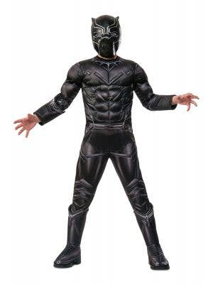 Boys Super Hero Deluxe Black Panther Muscle Chest Costume