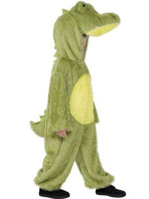 Kid's Green Crocodile Animal Onesie Costume Side View