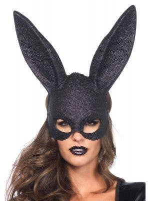 Women's Black Glitter Bunny Costume Mask