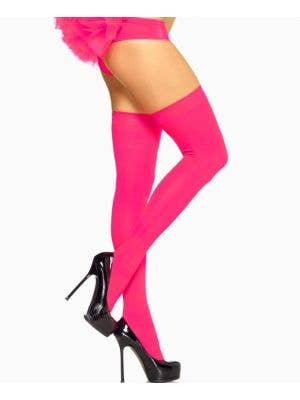 Neon Pink Thigh High Stockings