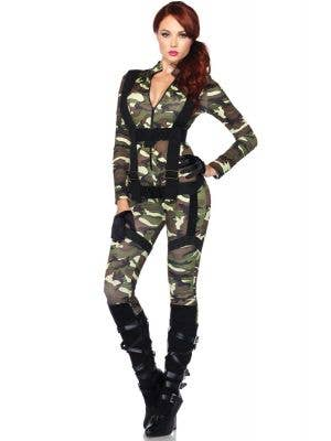 Women's Sexy Army Girl Jumpsuit Costume Main