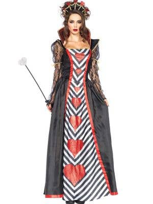 Queen Of Hearts Deluxe Women's Long Costume Front View