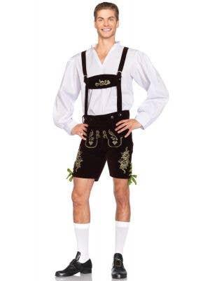 Men's Lederhosen Deluxe Fancy Dress Costume Main