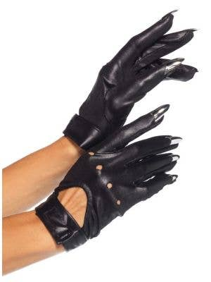 Black Catwoman Sexy Claw Costume Gloves Main