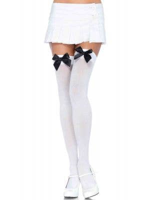 Women's White Thigh High Costume Stockings With Black Bows Main Image