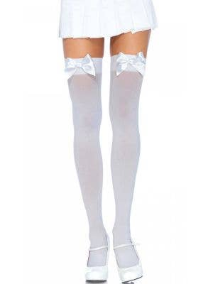 Women's Plus Size White Thigh High Stockings With Bows