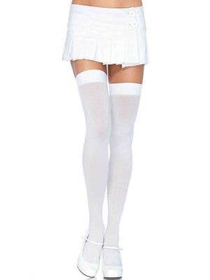 Plus Size White Thigh High Opaque Costume Stockings