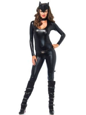 Wet Look Catsuit Women's Catwoman Costume Main Iamge