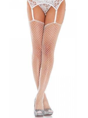 Industrial Net Thigh High Stockings - White
