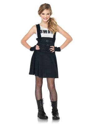 Teen Girl's SWAT Officer Fancy Dress Costume Front View