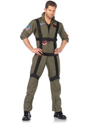 Men's Deluxe Top Gun Pilot Costume Front View