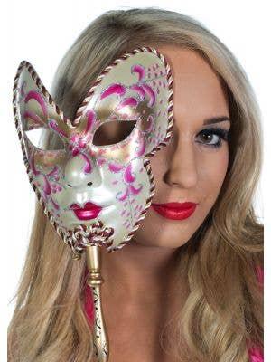 5 Pack Women's Pink Volto Hand Held Venetian Mask Main Image