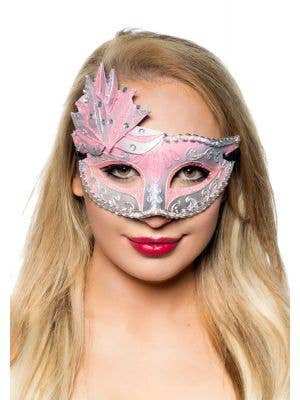 Women's Silver And Pink Side Overlay Mesquerade Mask Main