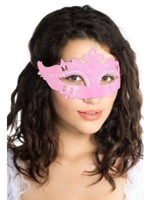 Light Pink Glitter and Cut Outs Masqureade Mask