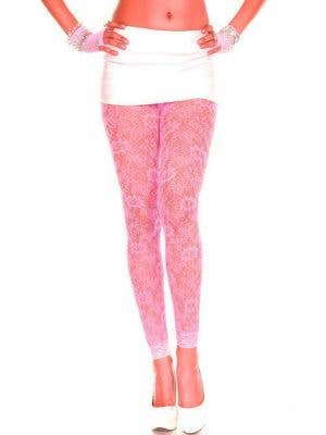 Floral Lace Neon Pink Leggings
