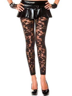 Floral Lace Sexy Black Leggings